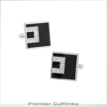BLACK WITH ASYMETRIC DIAMANTE INSET CUFFLINK