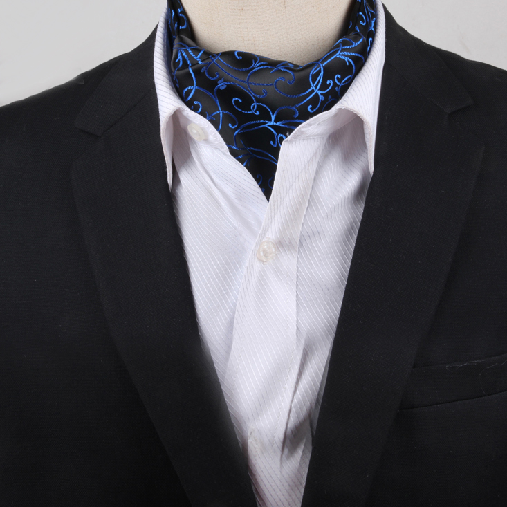 Men's Black with Blue Swirl Design Ascot Cravat