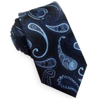 Black With Dark & Light Blue Paisley Tie