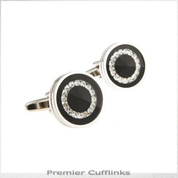 BLACK WITH DIAMANTE RING INSET CUFFLINKS