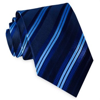 Black With Navy And Sky Blue Stripes Mens Necktie