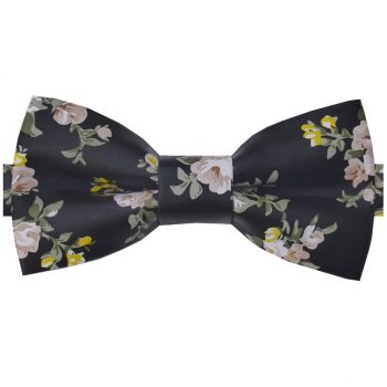 Black With Pink & Yellow Floral Bicast Leather Bow Tie