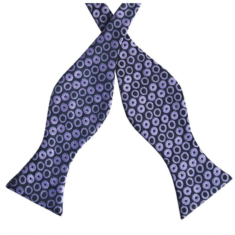 Black with Purple Rings Self Tie Bow Tie