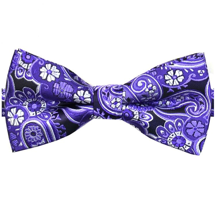 Black with Purple & White Paisley Floral Bow Tie