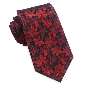 Black With Red Floral Men's Slim Tie