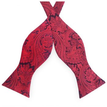 Black With Red Paisley Self Tie Bow Tie