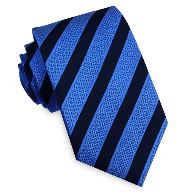 Black with Textured Blue Stripes Mens Tie