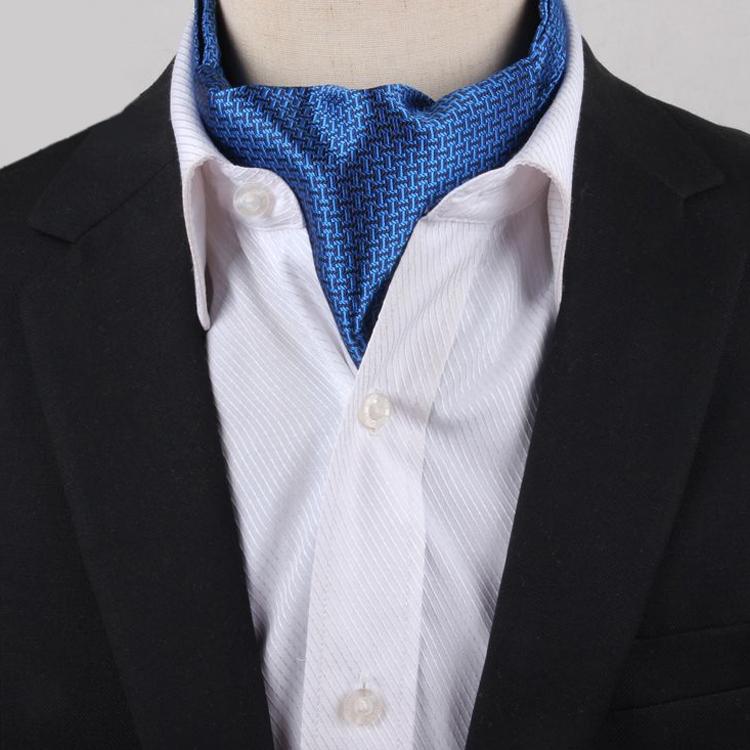 Men's Blue & Black Interlocking Design Ascot Cravat