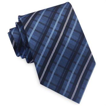 Blue And White Plaid Mens Tie