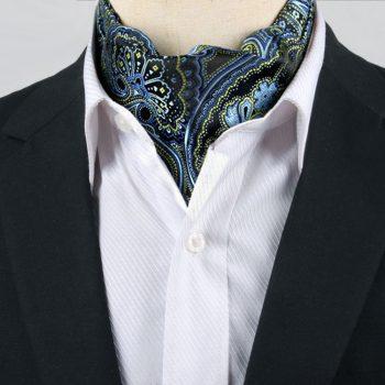 Men's Dark Blue, Light Blue & Green Paisley Ascot Cravat