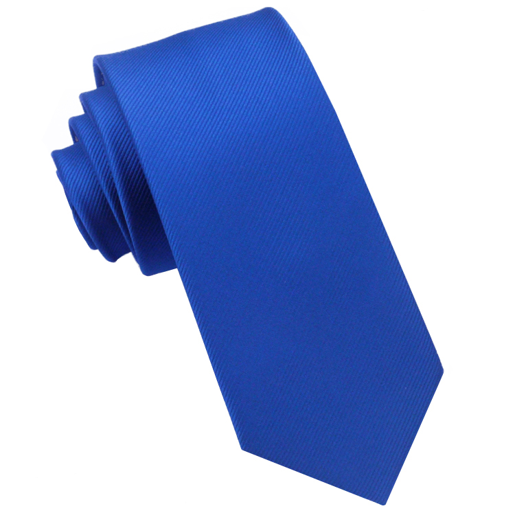 Royal Blue Ribbed 6cm Mens Slim Tie