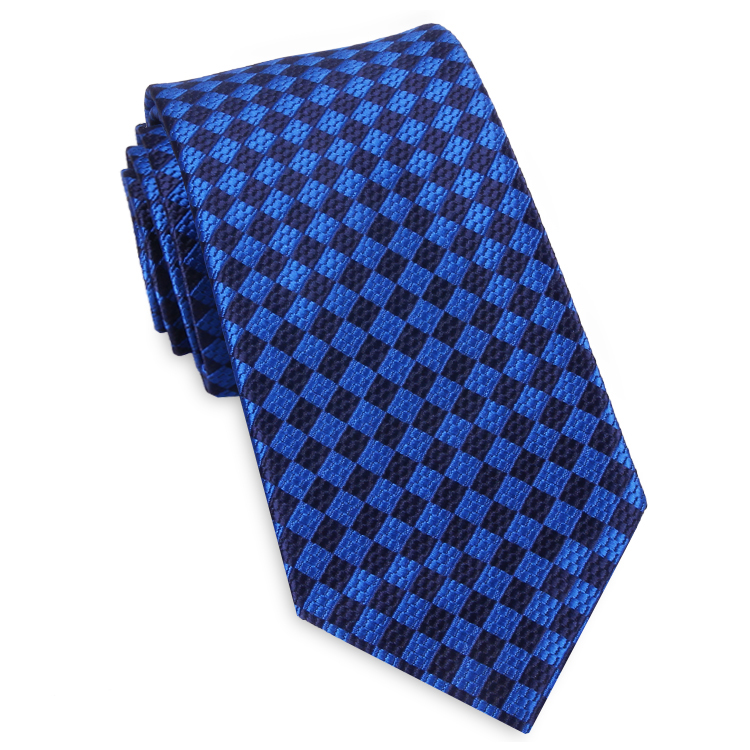 Blue Textured Diamonds Slim Tie