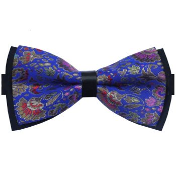 Blue With Gold And Red Floral Design Bow Tie