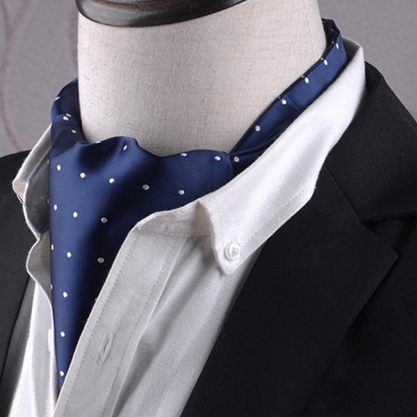 Men's Blue with White Polka Dots Ascot Cravat