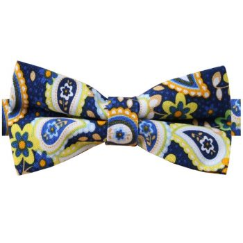 Blue & Yellow Paisley Bow Tie