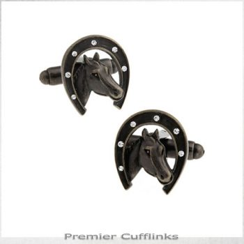 BRONZE LUCKY HORSESHOE CUFFLINKS