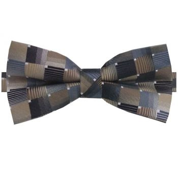 Bronze, Silver & Copper Check Bow Tie