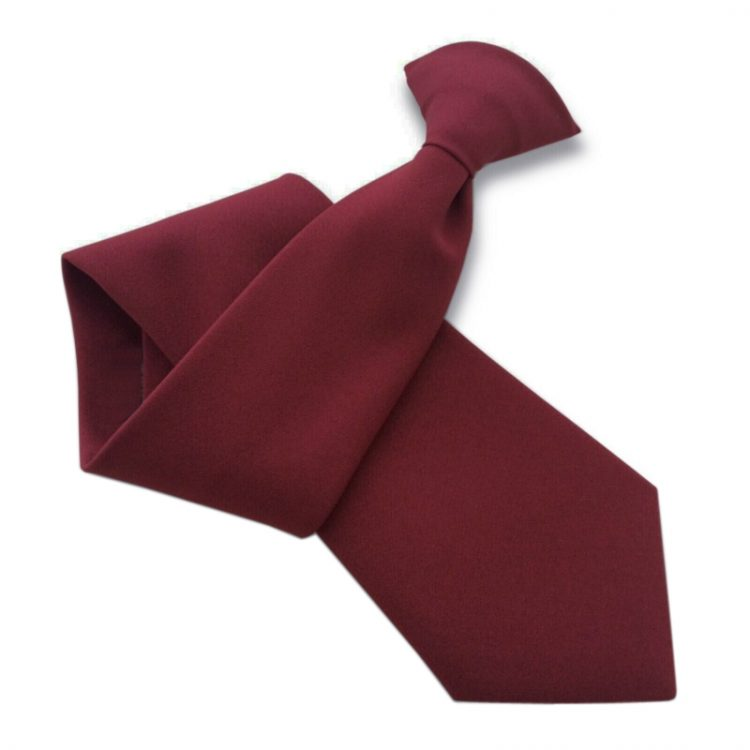 Mens Burgundy Red Clip On Tie