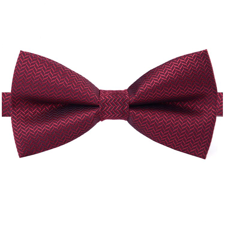 Burgundy Dark Red with V texture Bow Tie
