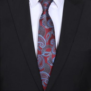 Burgundy Red With Light Blue Paisley Mens Tie