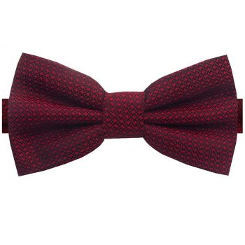 Burgundy Red Woven Texture Bow Tie
