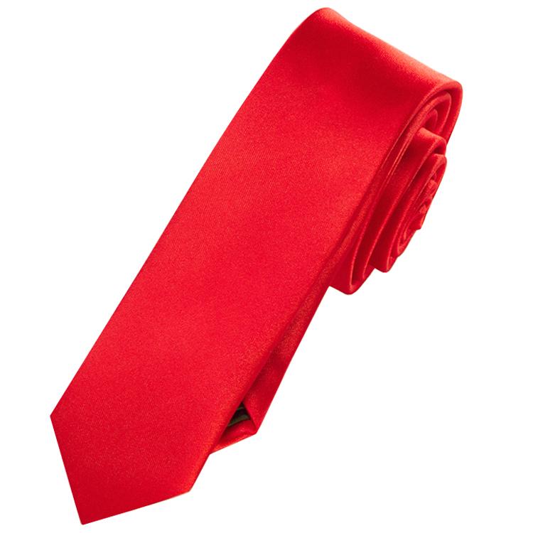 Mens Cherry Red Skinny Tie