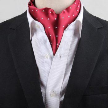 Men's Red With White Polka Dots Ascot Cravat