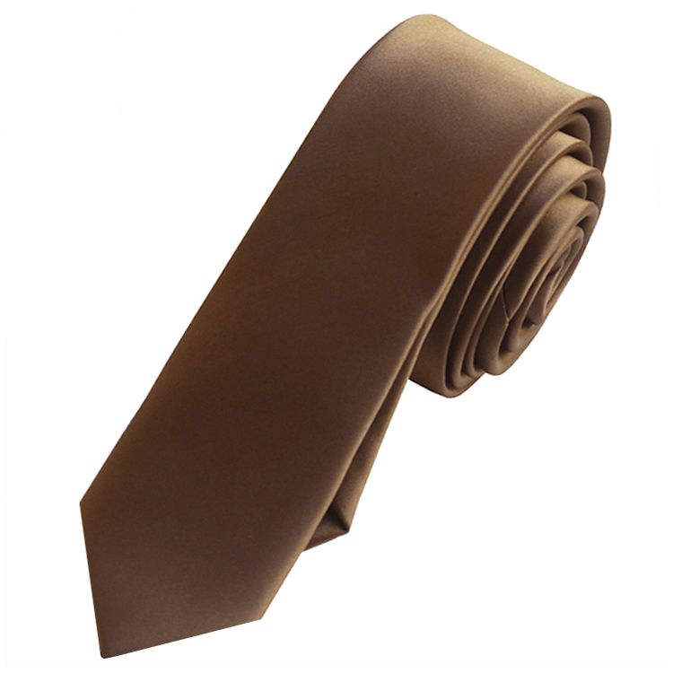Mens Chocolate Brown Skinny Tie