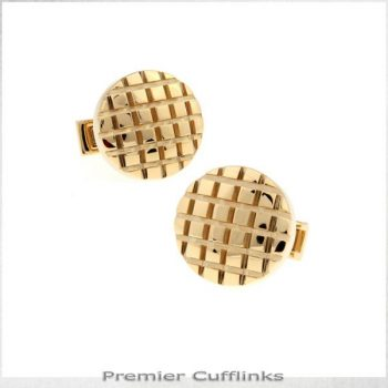 CIRCULAR GOLD WITH GRIDS CUFFLINKS