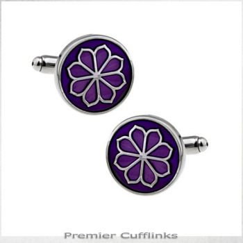 CIRCULAR PURPLE WITH FLORAL PATTERN CUFFLINKS