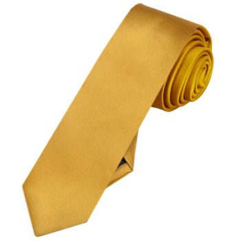 Mens Classic Gold Skinny Tie