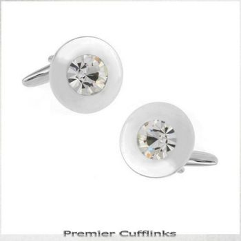 CLASSIC SILVER WITH CRYSTAL INSET CUFFLINKS