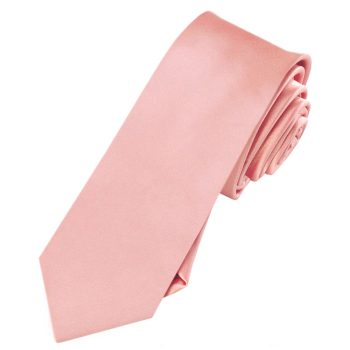 Mens Coral Salmon Flamingo Skinny Tie