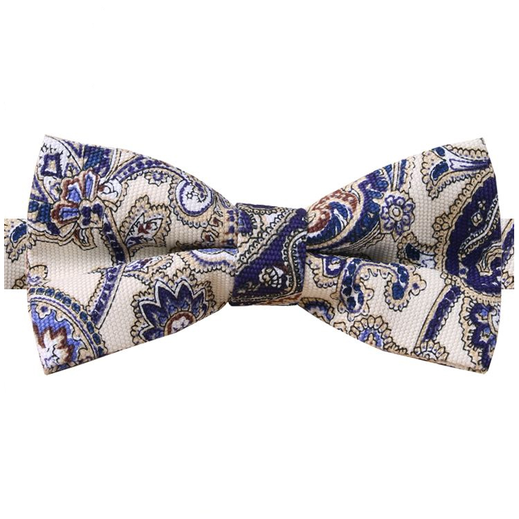 Cream with Blue Floral Paisley Bow Tie