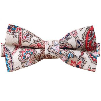 Cream With Red Floral Paisley Bow Tie