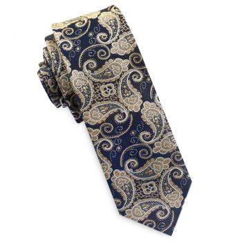 Dark Blue And Gold Paisley Mens Skinny Necktie