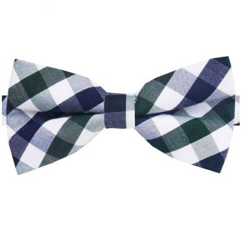 Dark Blue, Green & White Check Bow Tie