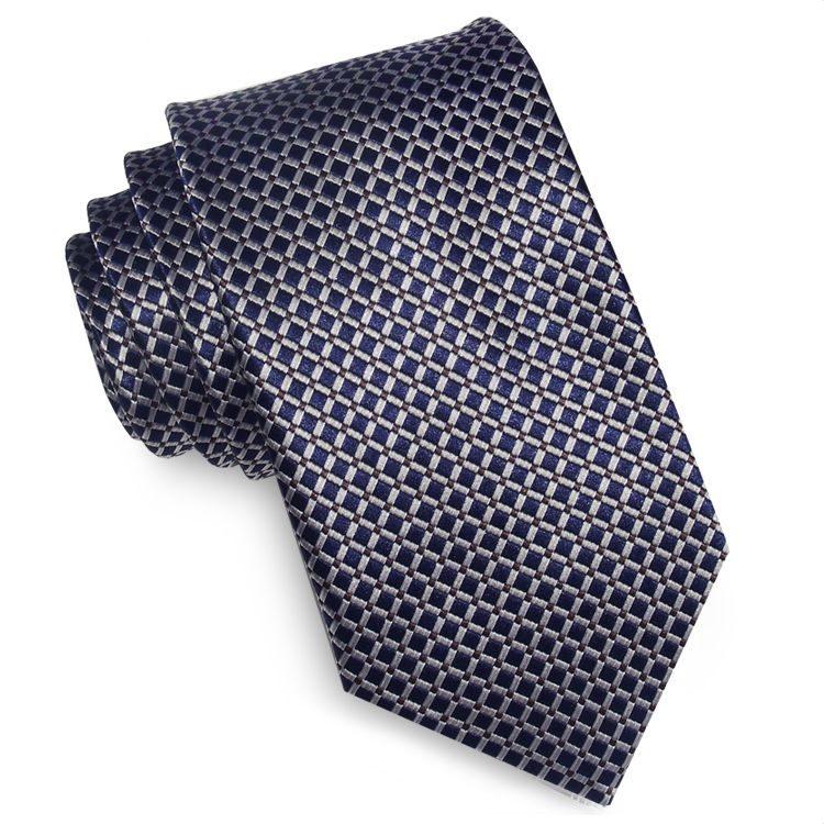 Dark Blue with Gold Crosshatch Design Tie
