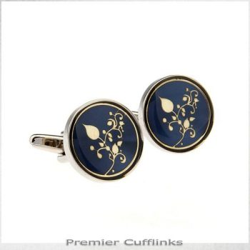 DARK BLUE WITH GOLD FILIGREE CUFFLINKS