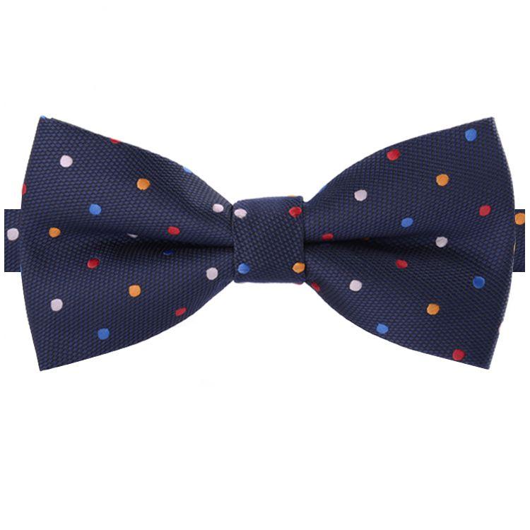 Dark Blue with Multi Coloured Polkadots Bow Tie