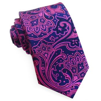 Dark Blue With Bright Pink Floral Design Tie