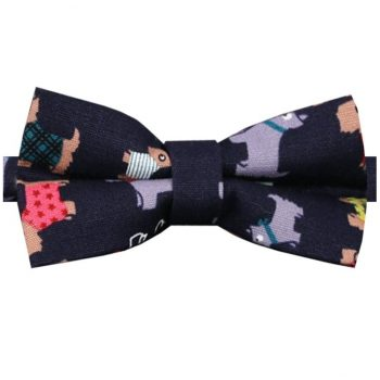 Dark Blue With Scotty Dog Pattern Bow Tie