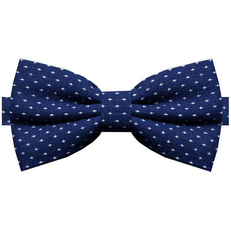 Navy with White Crosses Bow Tie