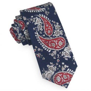 Dark Blue With White & Red Paisley Slim Tie
