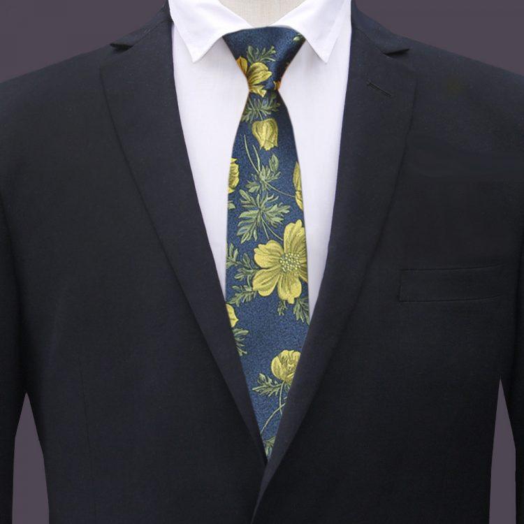 Dark Blue with Yellow Floral Slim Tie
