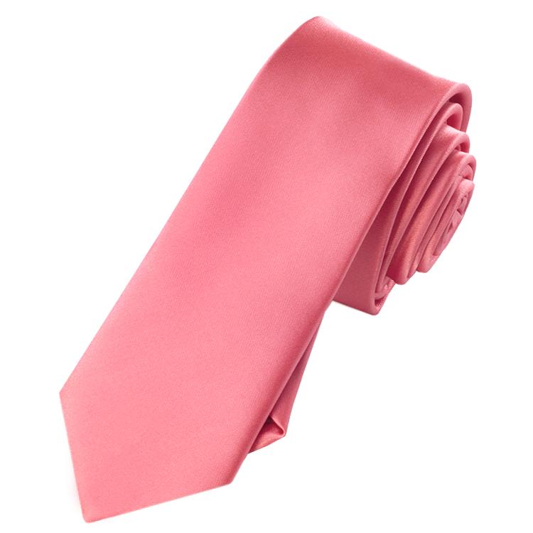 Mens Dark Coral Salmon Skinny Tie