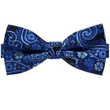 Dark & Light Blue Floral Paisley Bow Tie