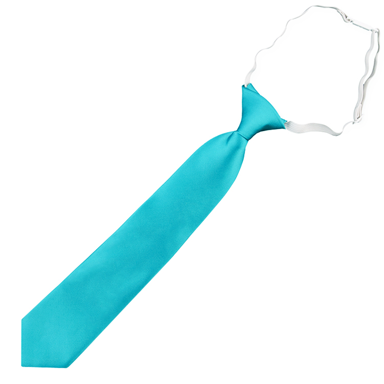 Dark Turquoise Aqua Junior Boys Elasticated Tie