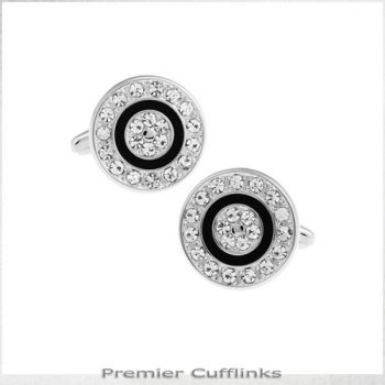 DIAMANTE WITH BLACK RING CUFFLINKS
