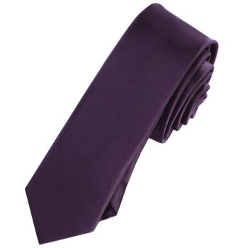 Mens Grape Eggplant Purple Skinny Tie